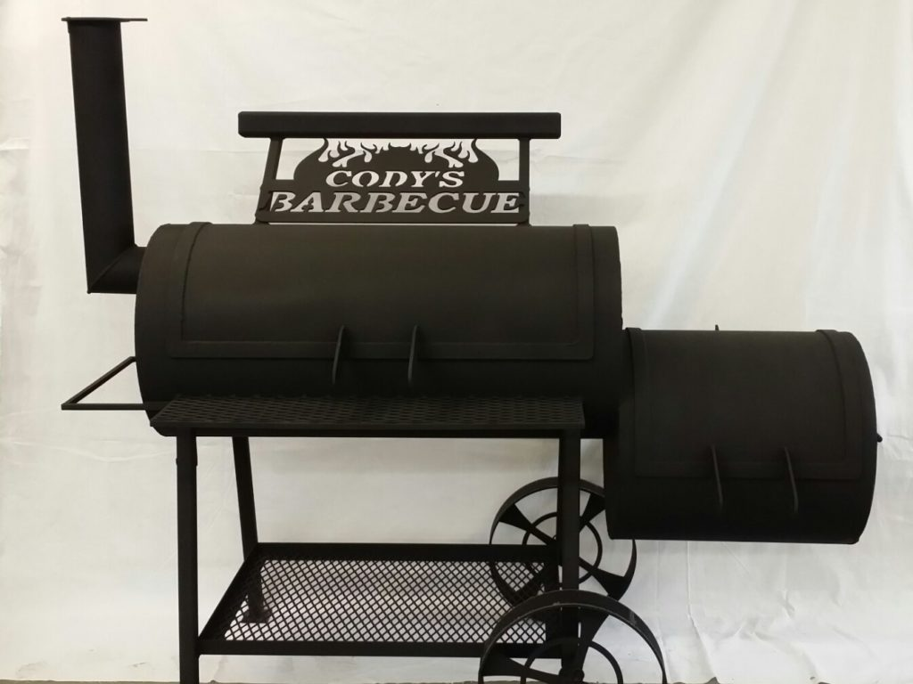 Barbeque barrel grill coated in matte black