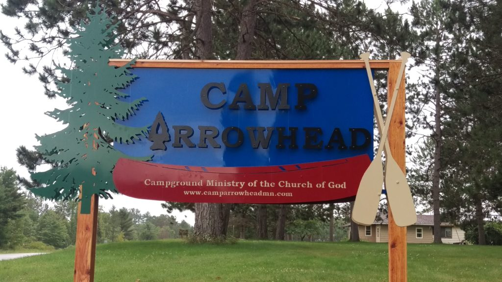 Signage for Camp Arrowhead coated in various colors