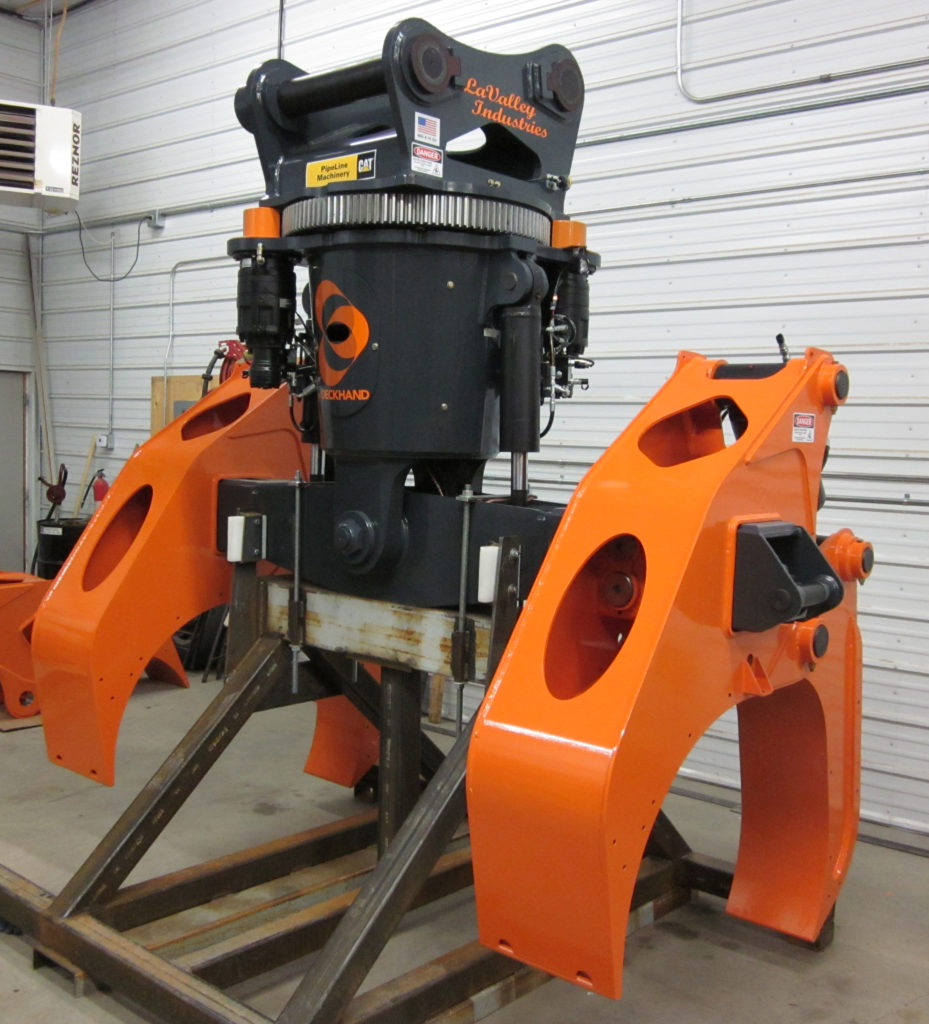 Industrial client LaValley Industries has their equipment coated in safety orange
