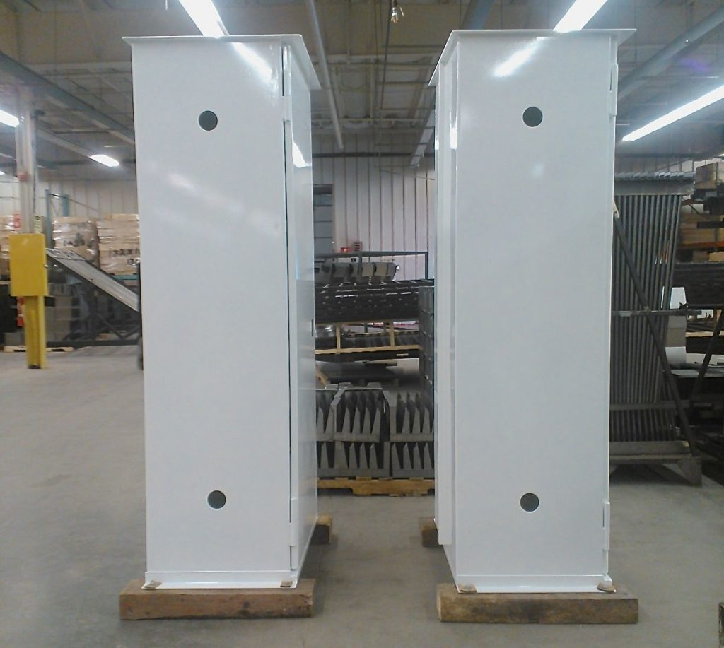 Industrial cabinets coated in gloss white