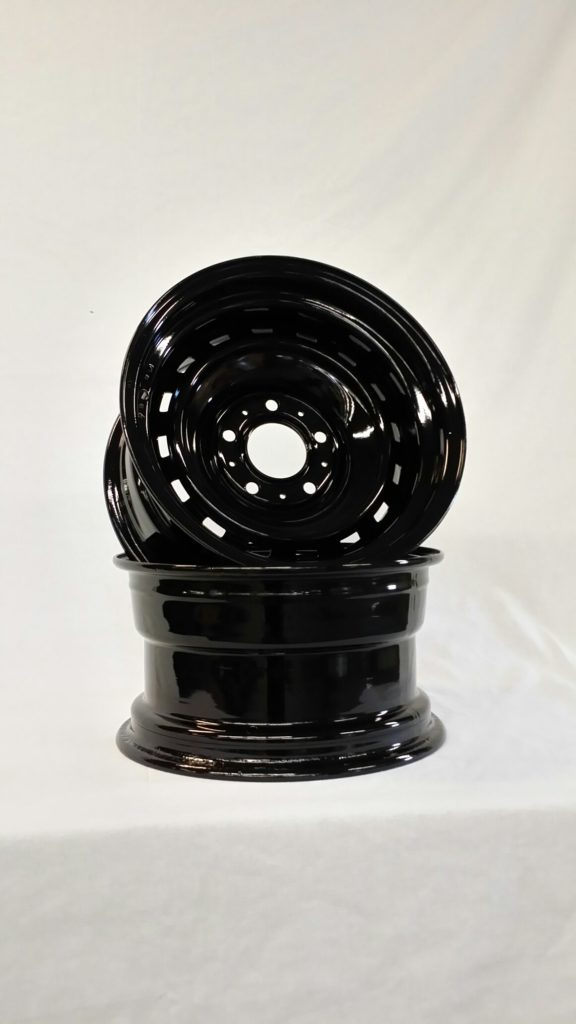 Automotive rims coated in gloss black
