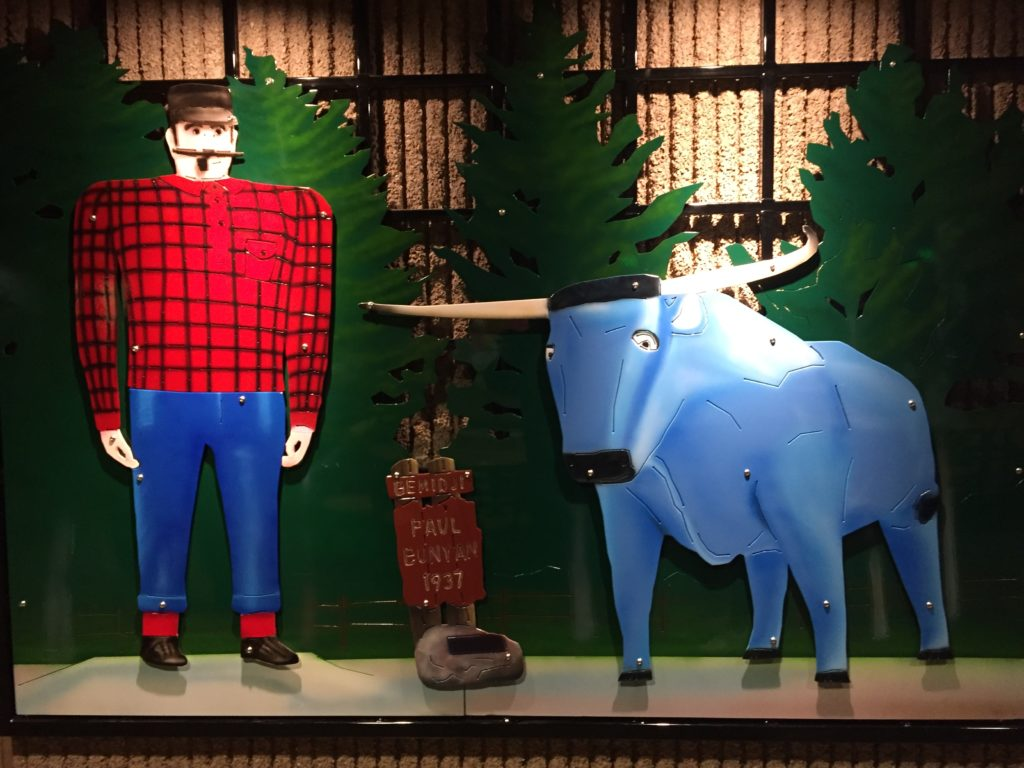 Paul Bunyan and Babe metal statues powder coated and placed at a local hockey arena