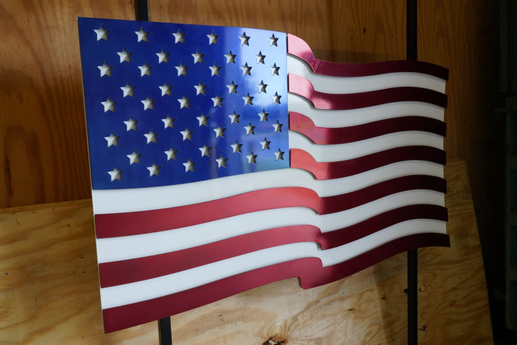 red white and blue powder coated American flag