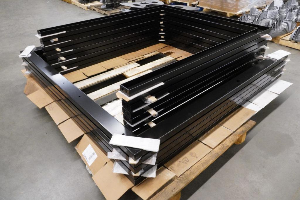 black powder coated door rails