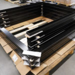 black powder coated door rails