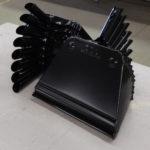 metal dust pans with black powder coating