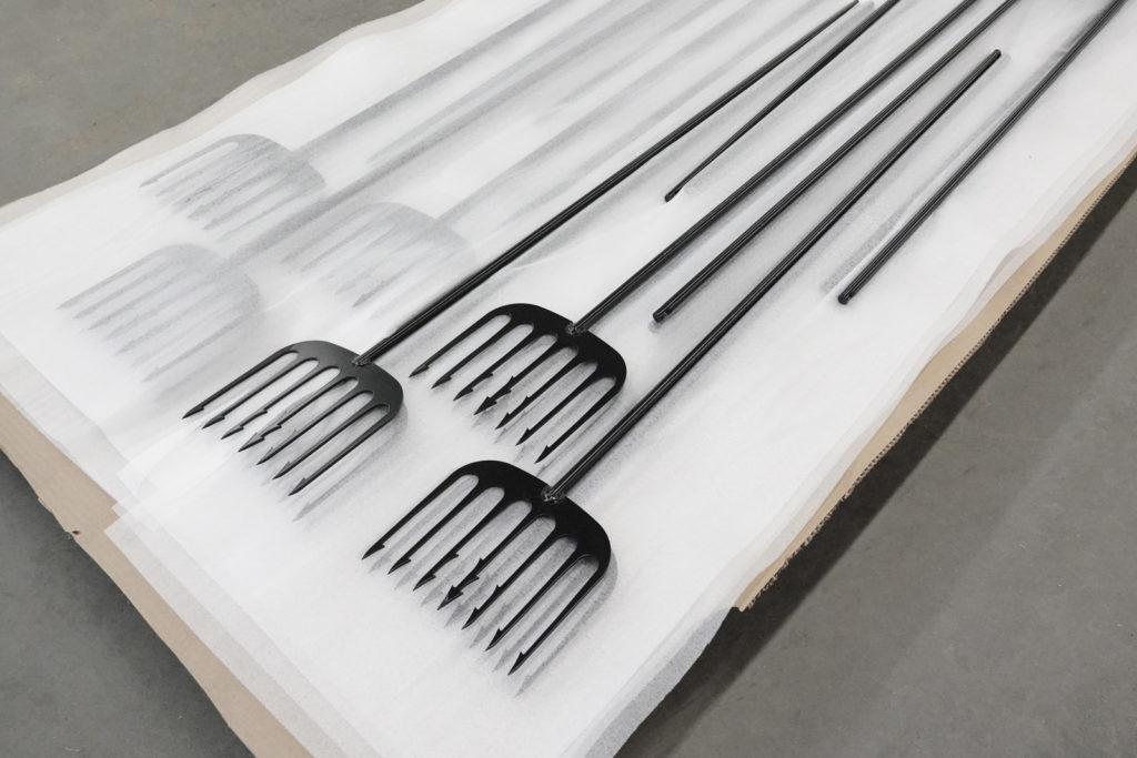 black powder coated ice fishing spears