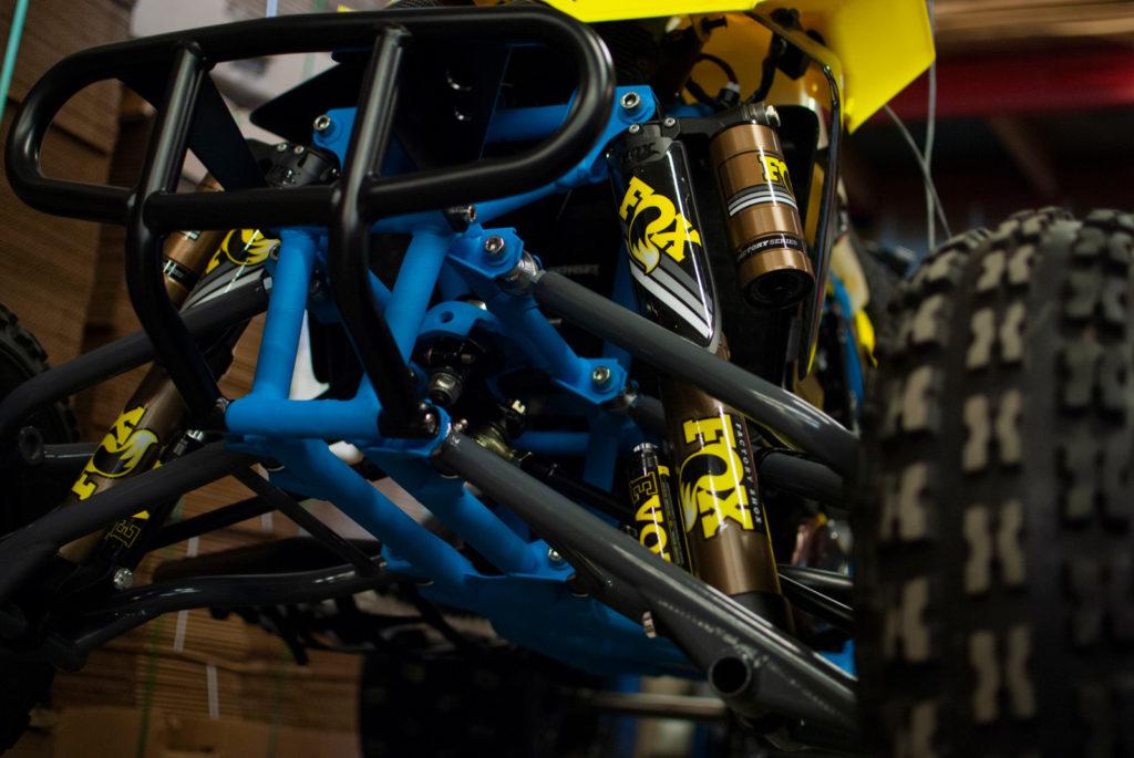 Blue powder coated ATV frame