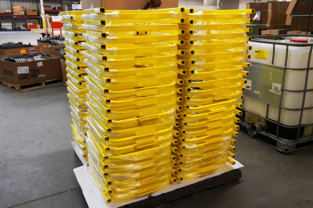 safety yellow powder coated railings