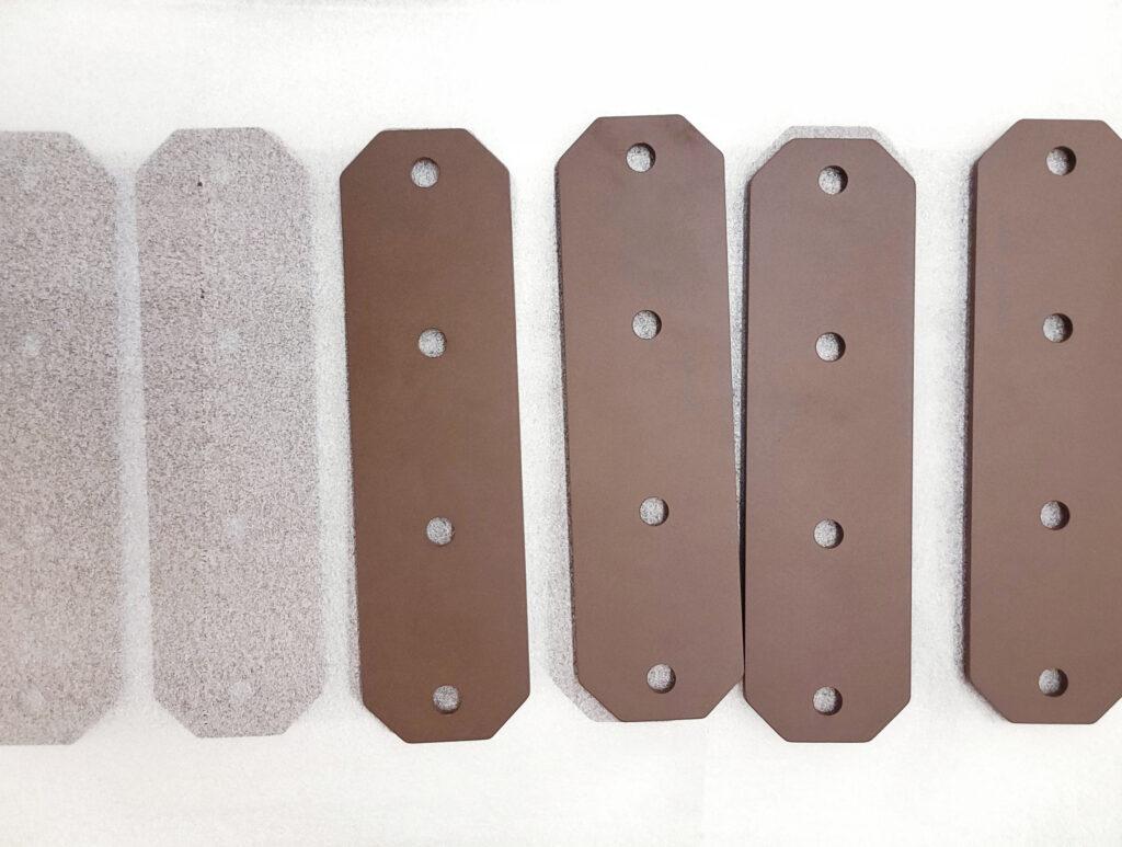 Rust colored powder coated steel brackets
