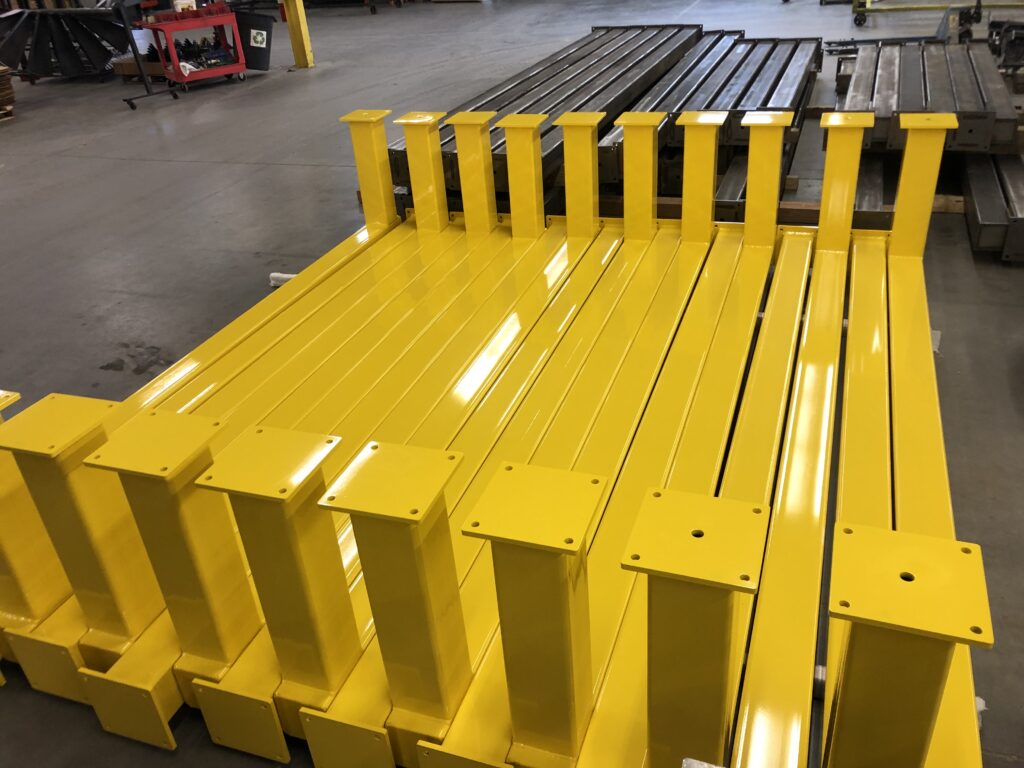 Heavy duty steel beams coated in safety yellow