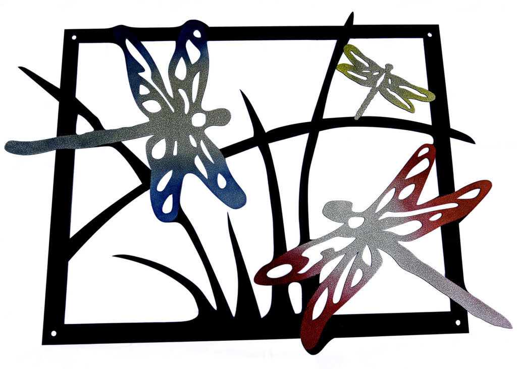 Dragonfly custom metal artwork with powder coat gradients