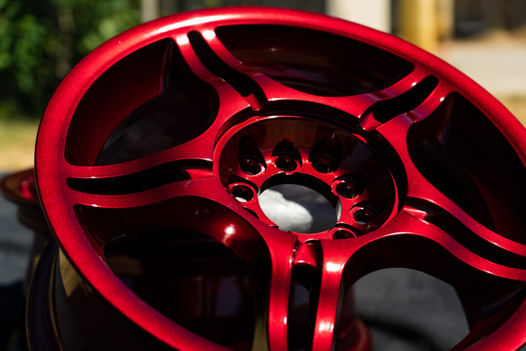 Face of Vehicle Rim with Lollipop Red